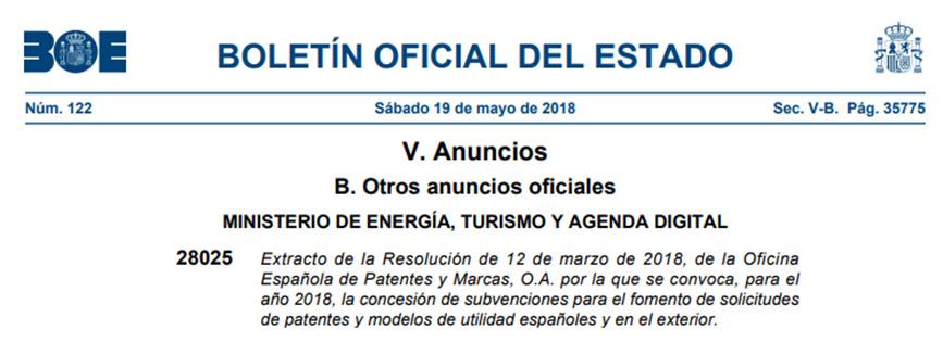 Subvenciones 2018 para el fomento de las solicitudes de patentes y modelos de utilidad españoles y en el exterior