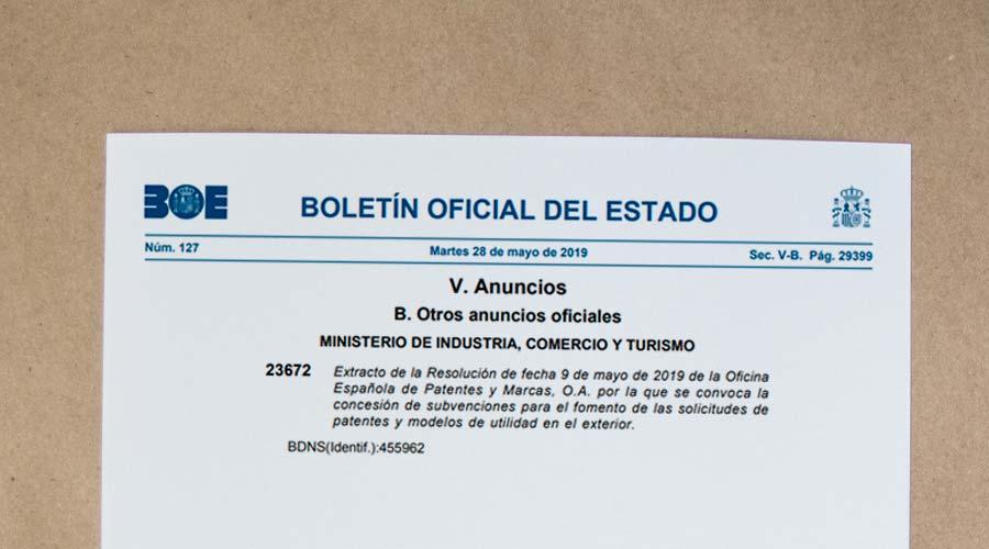 Convocatoria 2019 de subvenciones para el fomento de las solicitudes de Patentes de Invención y Modelos de Utilidad. Programa Internacional